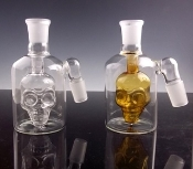 LARGE 18MM GLASS ON GLASS ASHCATCHER W/ SKULL DESIGN